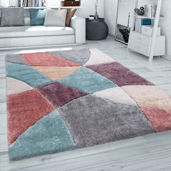 Hochflor Teppich Wohnzimmer 3D Effekt Geometrisch