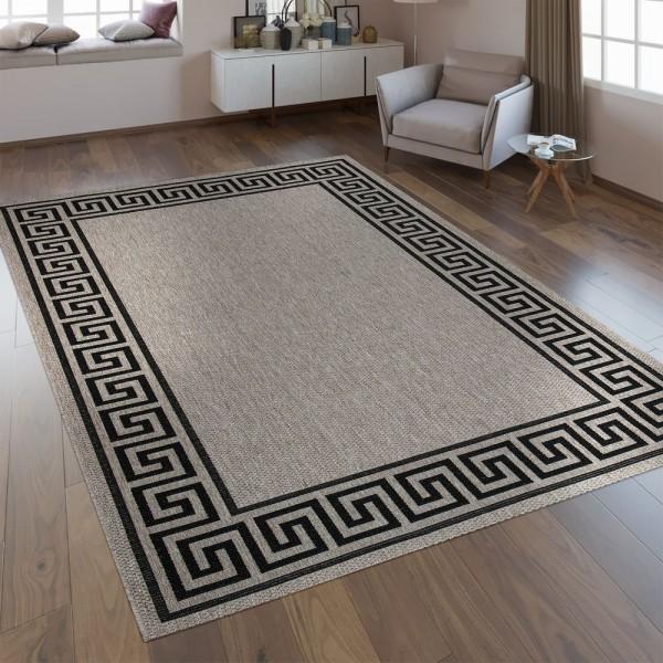 Flachgewebe Teppich Bordüre Silber Grau