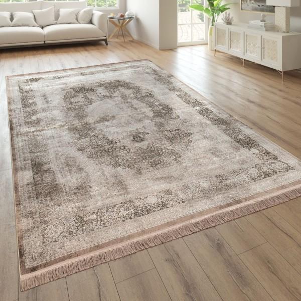 Wohnzimmer-Teppich, Kurzflor Mit Orientalischem Design, Florales Muster In Beige