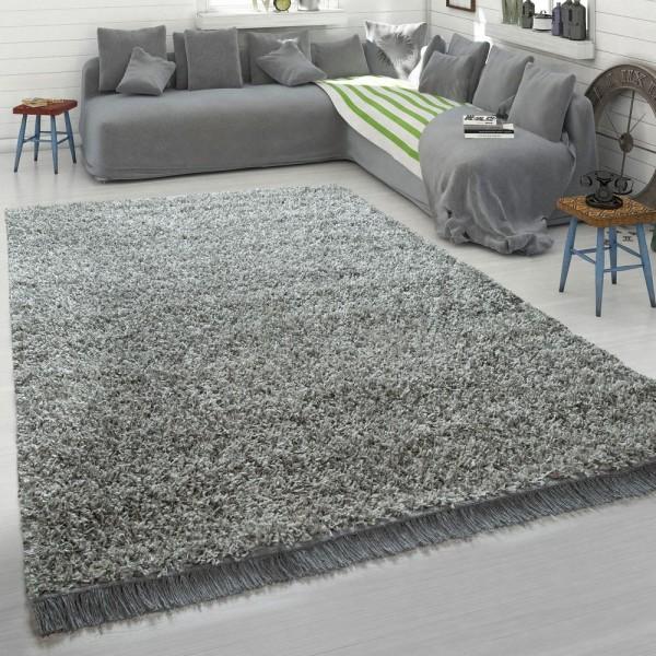 Grauer Teppich Wohnzimmer Hochflor Shaggy Weich Robust Strapazierfähig Kuschelig