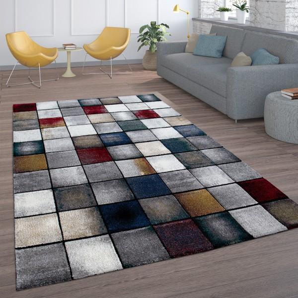 Kurzflor Teppich Wohnzimmer Karo Muster