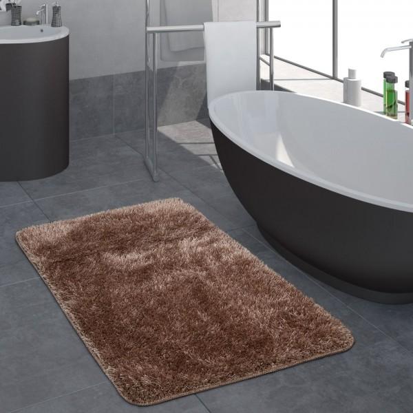 Moderner Hochflor Badezimmer Teppich Einfarbig Badematte Rutschfest In Braun