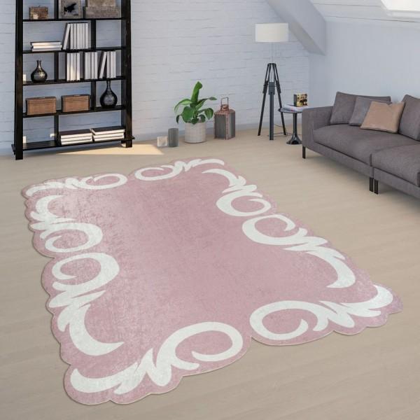 Teppich Wohnzimmer Rosa Pink Weiß Weich Pastellfarben Florale Bordüre Kurzflor