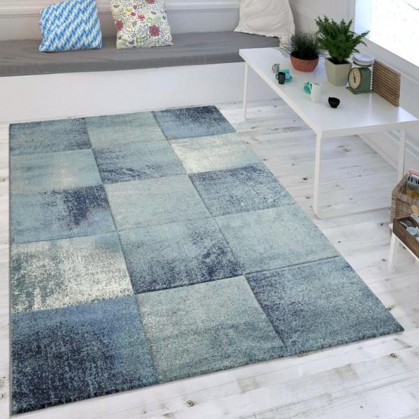 Wohnzimmer-Teppich, Kurzflor Mit Karo-Muster, Melierte Quadrate In Blau