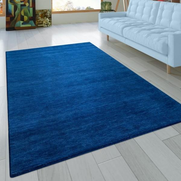 Teppich Handgeknotet Gabbeh Hochwertig 100% Baumwolle Dezent Meliert In Uni Blau