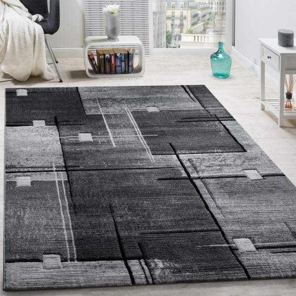 Designer Teppich Konturenschnitt Abstrakt Karo Linien Grau Schwarz Meliert