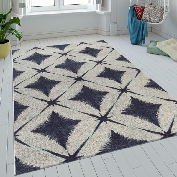 Teppich Wohnzimmer Kurzflor Rauten Design Batik In Blau Grau Weiß Retro Modern