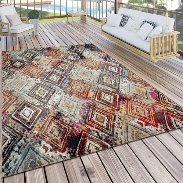 Outdoor Teppich Bunt Terrasse Balkon Vintage Look Rauten Design Gemälde Optik