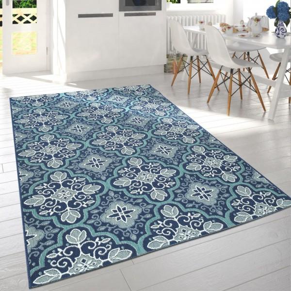 In- & Outdoor-Teppich Für Balkon Und Terrasse Mit Orient-Muster, In Blau
