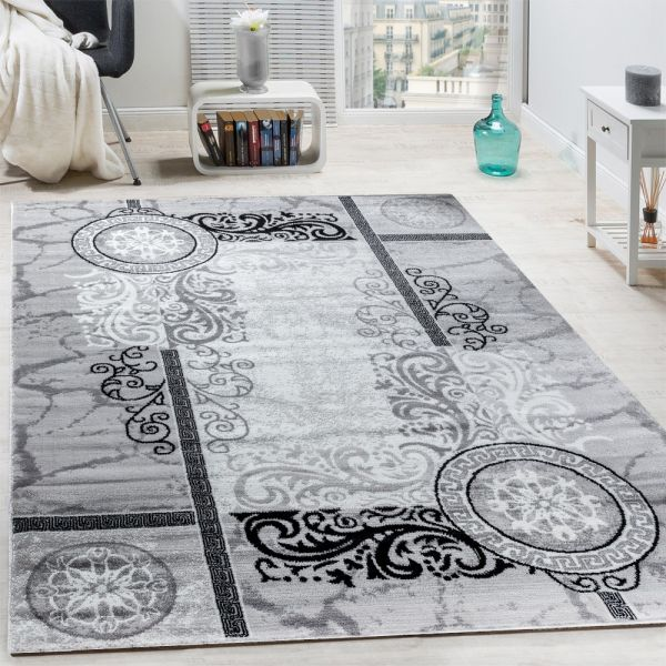 Designer Teppich Modern Meliert Floral mit Mäander Muster Kreise Grau Schwarz