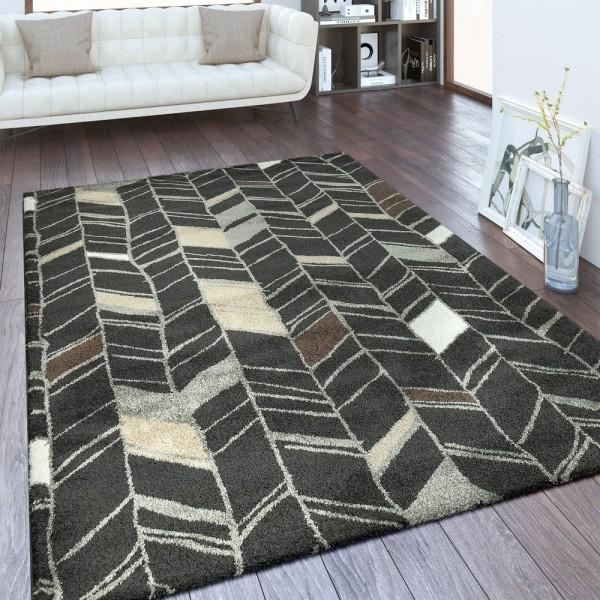 Designer Teppich Linien Design Anthrazit