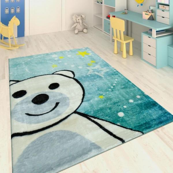 Handgetuftet Kinderteppich Fröhlicher Bär Blau