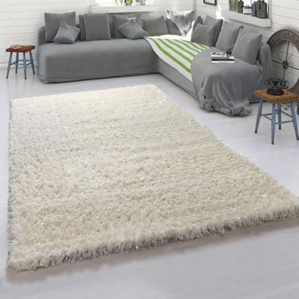 Hochflor-Teppich, Weicher Moderner Flokati-Teppich, Einfarbig In Beige Creme
