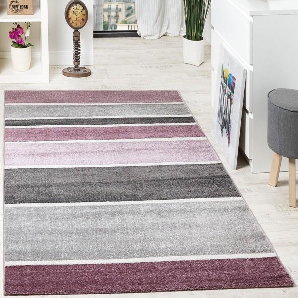Designer Teppich Hochwertig Modern Linien Muster Meliert Zeitlos Graustufen Lila Grau