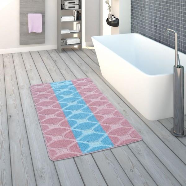 Badematte, Kurzflor-Teppich Für Badezimmer Karo-Muster, In Pastell Blau Rosa