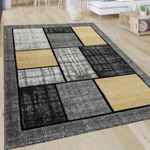 Teppich Wohnzimmer Muster Kariert Modern Kurzflor Quadrate In Gelb Grau Weiß