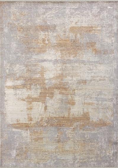 Wohnzimmer-Teppich Mit Abstraktem Muster, Kurzflor Meliert in Grau Beige Braun
