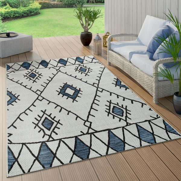 In- & Outdoor Teppich Flachgewebe Geometrisch Abstrakt Rauten Design Ethno Blau