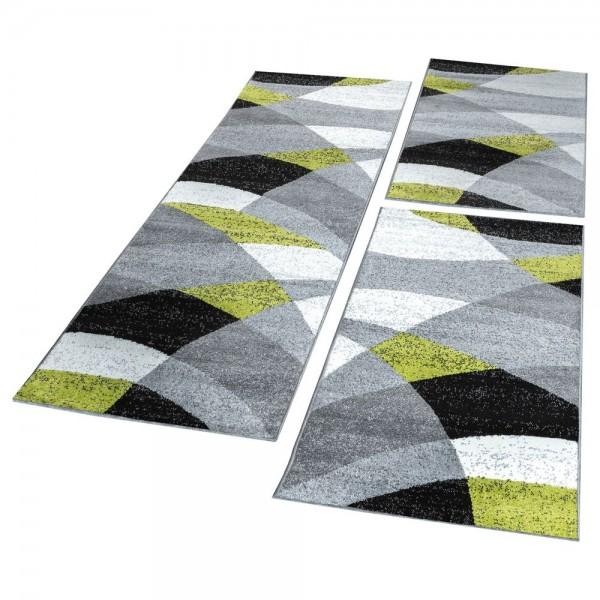 Läufer Set Geometrisch Meliert Grün Grau