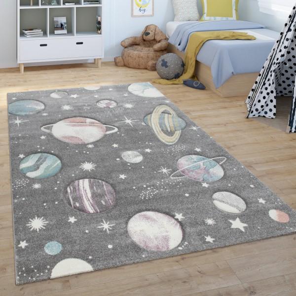 Kinder-Teppich Weltall-Motiv Pastellfarben