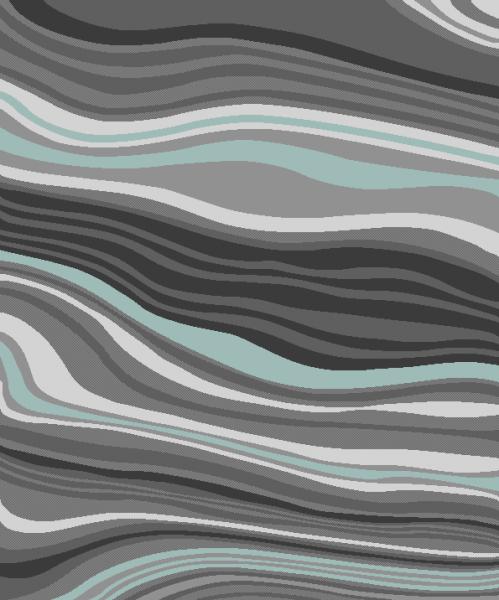 Wohnzimmer-Teppich, Designer-Kurzflor Mit Modernem Wellen-Muster, In Grau Türkis