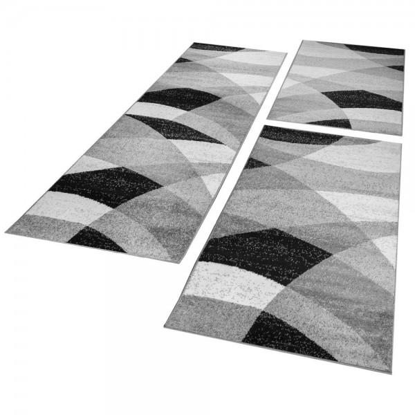 Ensemble Tapis De Couloir Géométrique Gris Blanc