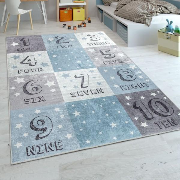 Kinderteppich, Flachgewebe Für Kinderzimmer, Zahlen-Design Karo-Muster, In Blau