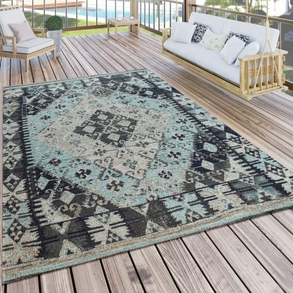 In- & Outdoor-Teppich Für Balkon U. Terrasse M. Orient-Muster, Kariert In Blau
