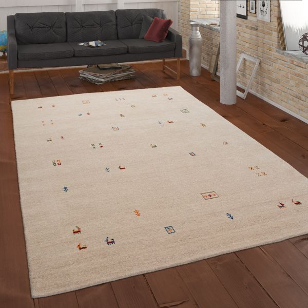 Hand-Woven Rug Ethnic Pattern In Cream