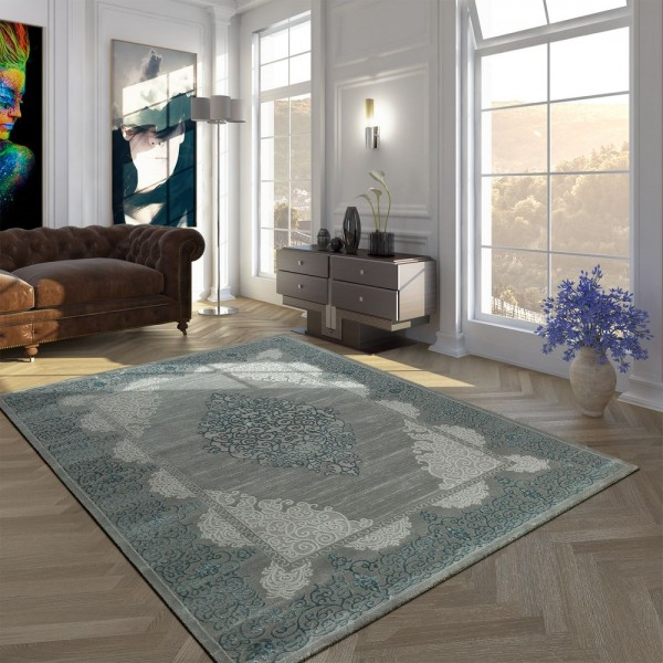 Hochwertiger Polyacryl Kurzflor Teppich Barock Muster Modern Vintage Grau Türkis