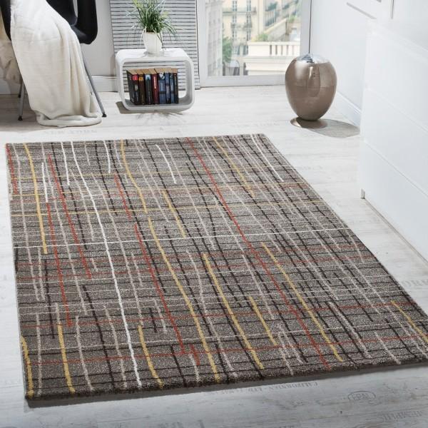 Designer Teppich Kurzflor Wohnzimmer Gitternetz Optik Braun Mehrfarbig Meliert