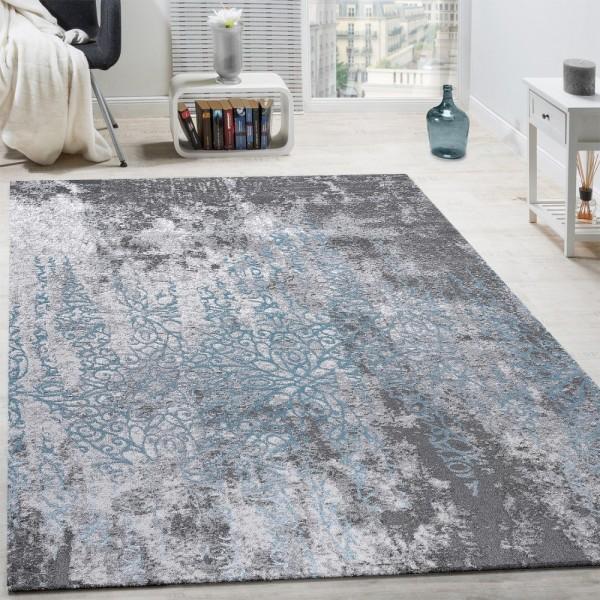 Designer Teppich Wohnzimmer Teppiche 3D Edel Shabby Chick Vintage Grau Blau