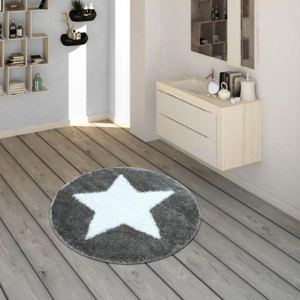 Badematte, Runder Kurzflor-Teppich Für Badezimmer Mit Sternen-Motiv In Grau Weiß