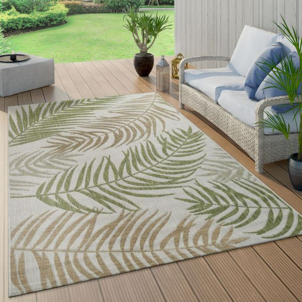 In- & Outdoor Teppich Flachgewebe Modern Jungle Palmen Design In Pastell Grün