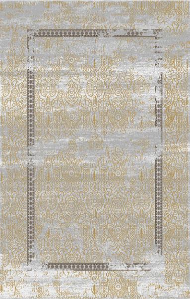 Orient Teppich 3D Effekt Maya Muster Grau Gold