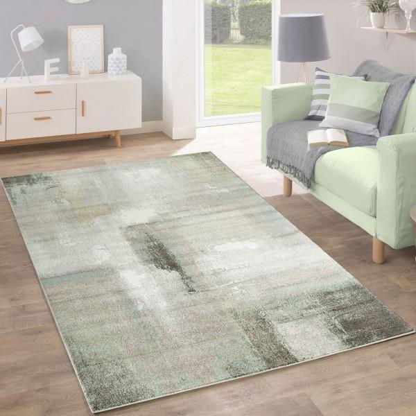 Designer Teppich Modern Wohnzimmer Ölgemälde Mehrfarbig Pastell Industrie Grün