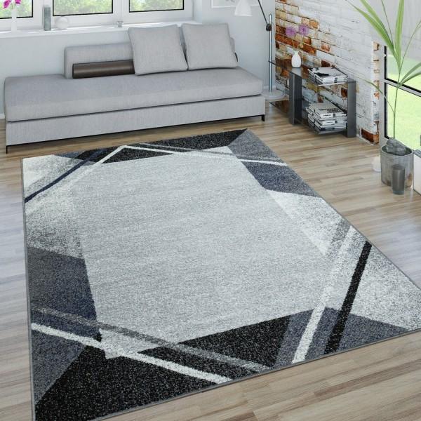 Wohnzimmer-Teppich, Kurzflor-Teppich Mit Geometrischer Bordüre, In Grau
