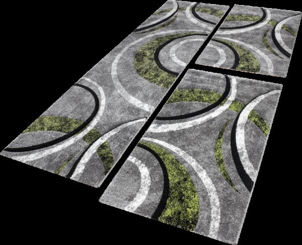 Läuferset Teppich Streifen Modell Grau Grün