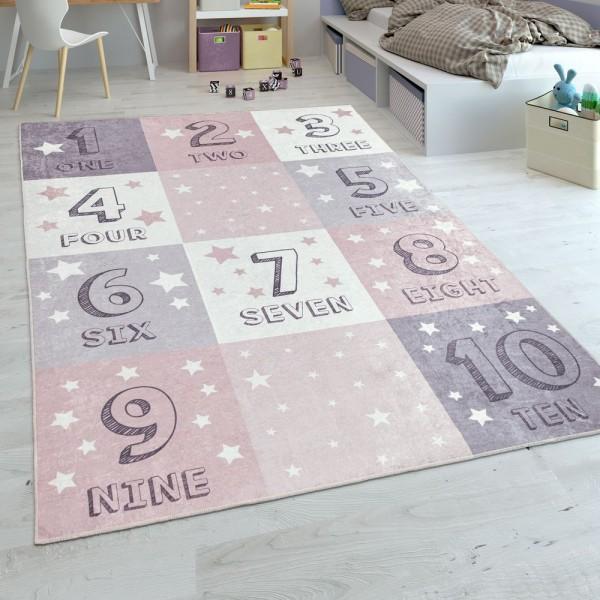 Kinderteppich, Flachgewebe Für Kinderzimmer, Zahlen-Design Karo-Muster, In Rosa