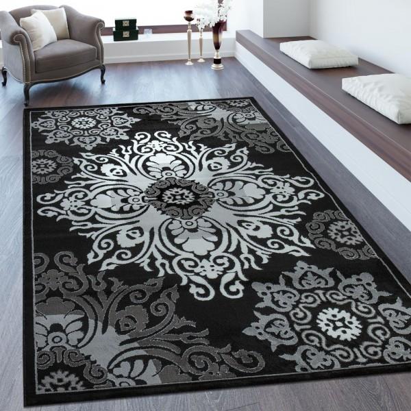 Kurzflorteppich Ornamente Schwarz Weiß