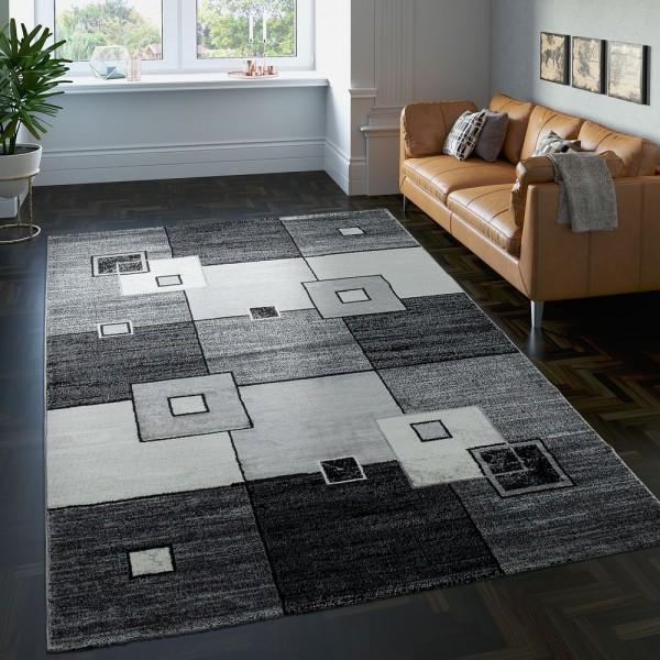 Edler Designer Teppich Kariert Kurzflor in Grau Creme Schwarz Meliert