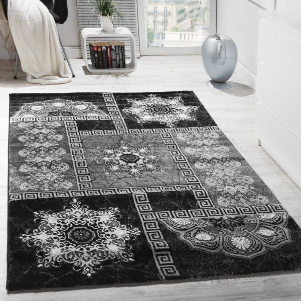 Designer Teppich Klassische Ornamente Kronleuchter Optik Schwarz AUSVERKAUF