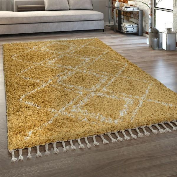 Orient Teppich Gelb Wohnzimmer Hochflor Rauten Muster Orient Design Berber Stil