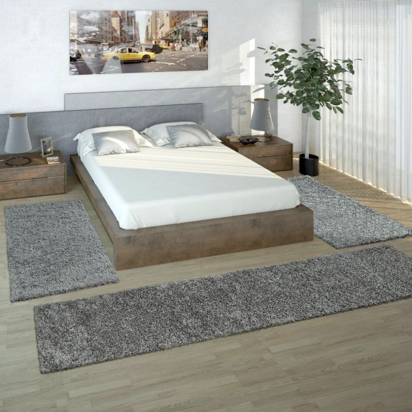 Bedside 3-Part Carpet Runner Set / Shaggy Carpet in Grey