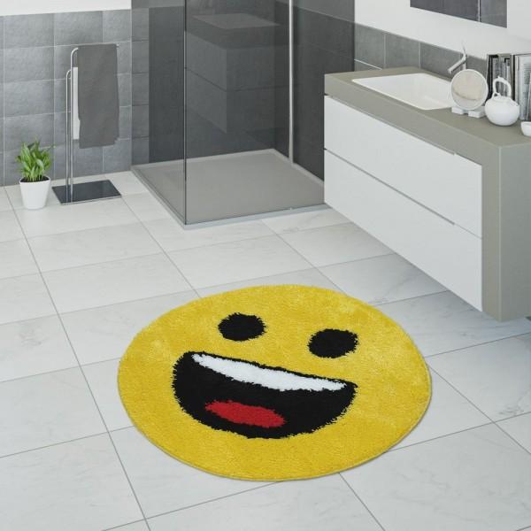 Badematte, Kurzflor-Teppich Für Badezimmer Mit Lachendem Smiley, In Gelb