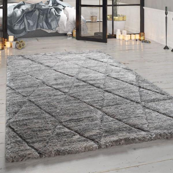 Hochflor-Teppich, Designer-Shaggy Für Wohnzimmer Mit Rauten-Muster, In Grau
