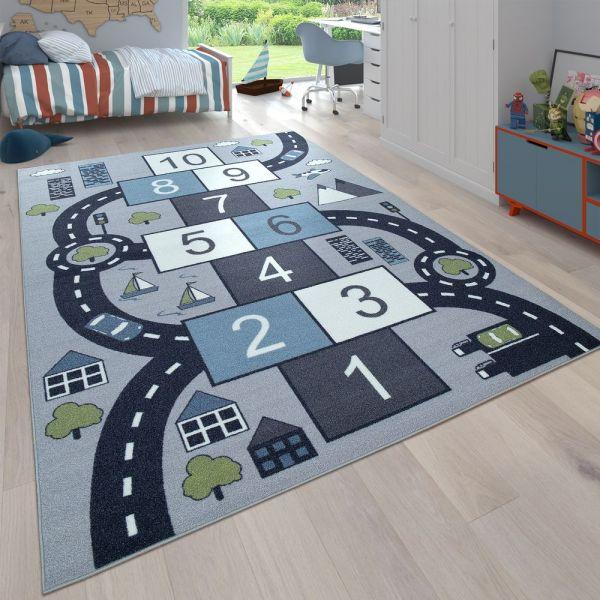 Kinder-Teppich, Spiel-Teppich Für Kinderzimmer, Hüpfkästchen und Straßen, Grau