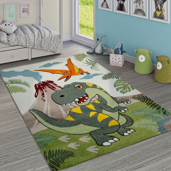 Kinderzimmer Teppich Grün Dinosaurier Dschungel Vulkan 3-D Effekt Kurzflor