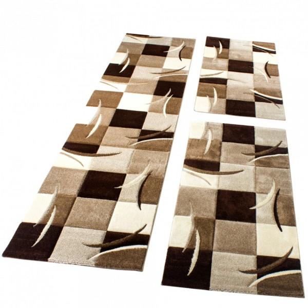 Teppich Läufer-Set Mit Karos Und Wellen