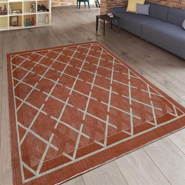 Moderner Flachgewebe Wendeteppich Minimalistisches Design Terracotta
